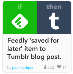 Feedly to tumblr automation recipe